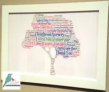 Personalised word art Thank you Teacher / Nursery / Childminder word art gift