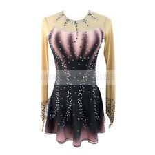 Figure Skating Dress Women's Girls' Ice Skating Long sleeves Black Gray