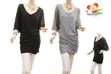 CELEBRITY Women PLUS Stretch Knit 3/4 Lace Dolman Batwing Sleeve Tunic Shirt Top