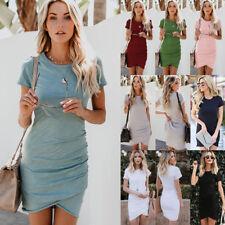 Womens Irregular Bodycon Short Sleeve Sundress Holiday Ladies Summer Mini Dress