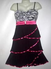 Minnie Marie Plus 1X 2X Zerbra Print Layer With Diamond Brooch Tie back Dress