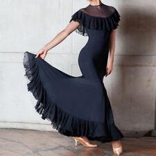 Latin Foxtrot Ballroom Dance Dress Modern Salsa Waltz Standard Long Dress#YG021