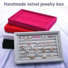 Ring Velvet Display Organizer Box Tray Holder Earring Jewelry Shop Storage Case