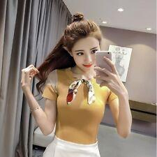 t shirt comoda maglia donna donna maniche corte giallo foulard fashion  4294