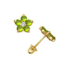 14k Yellow Gold CZ Flower Birthstone Stud Screw Back Earrings