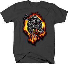 Black Panther Jaguar Running Towards you Through Fire Flames Tshirt