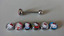1 x  LOGO ZUNGENPIERCING  Logo Hello Kitty Flachmotiv, verschiedene Motive, TOP