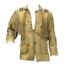 Mens Fringe Beige Western Style Suede Leather Coat Jacket American Style Cowboy