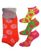3 Girls Ladies Kids Neon Fashion Trainer Liner Socks / Floral / UK 4-6