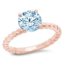 2 Round Cut Rope Knot Blue Stone Wedding Bridal Promise Ring 14k Rose Gold