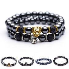 Crown Pendant Bangles Bracelets Gift Hematite Stone Bead Golden Silver Panther
