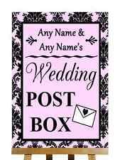 Baby Pink Black Damask Post Box Personalised Wedding Sign