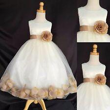 Ivory Rose Petal Dress Champagne Rose Petal Dress Holiday Christmas Wedding #024