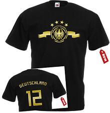 WM2018 T-Shirt Trikot Deutschland Golddruck Adler 4 Sterne unisex Herren+Kinder