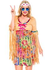 Plus size retro flower child hippie dress costume