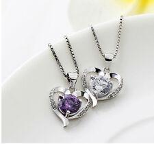 Collar necklace con colgante de corazón baño de plata 925 y cristal austriaco