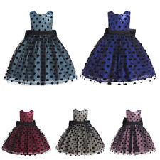 Kids Girls Princess Sequins Dress Polka Dot Bow Tutu Bridesmaid Dresses Evening