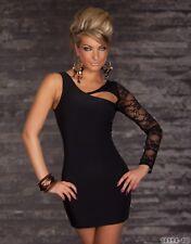 Sexy  Women's Lace Mini Dress One Shoulder Evening Dress asymmetrical look UK