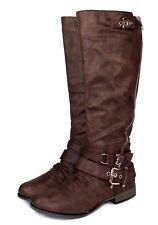 Chapter-13 Fashion Knee High Zipper Buckles Low Heel Comfort Women's Boots Brown