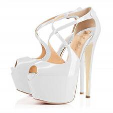 Sexy Womens High Stilettis Heel Open Toe Buckle Platform Nightclub Shoes Zhou8