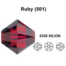 RUBY (501) dark red Genuine Swarovski 5328 XILION Bicone Beads *All Sizes