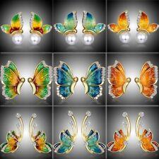 Mother's Day MOM Gift Butterfly Crystal Ear Earrings Stud Women Costume Jewelry
