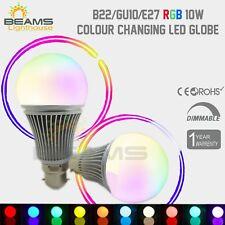 B22/GU10/E27 10 W RGB LED dimmerabile Lampadina Globo Lampada Cambia colore + remote