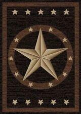 Texas Western Star Rustic Cowboy Decor Black Brown Area Rug *Free Shipping*