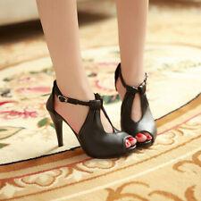 Fashion Womens Open Toe Sandals Stilettos Heels Buckle Strap New Shoes Plus Size