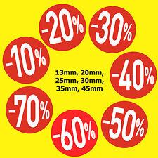 Rojo Brillante Sale Pegatinas / Etiquetas Adhesivas -10% -20% -30% -40% -50%