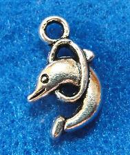 10Pcs. Tibetan Silver DOLPHIN Jumping Ring Charms Earring Drops Pendants OT07