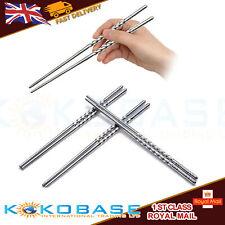 Chinese Non-slip Hollow Stainless Steel Chopsticks Chop Sticks Silver UK SELLER