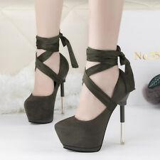 zapatos de salón invierno 15 tacón aguja verde piel como cómodo 9558