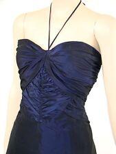VTG Look BEBE Blue Ruche Halter Party Prom Dress L NWOT