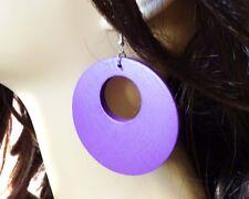 LARGE CIRCLE WOOD BOHEMIAN EARRINGS 2.5 INCH HOOP EARRINGS LIGHTWEIGHT ASSORTED