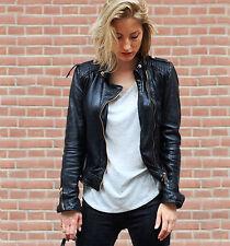 Zara biker soft leather black jacket gold details bloggers sold out MEDIUM M