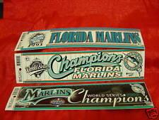 Florida Marlins MLB Milestones 3 Bumper Stickers Lot World Series 1997 & 2003