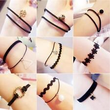 Fashion Black Velvet Retro Sweet Velvet Ribbon Lace Multilayer Female Bracelet