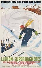 REPRO AFFICHE CHEMINS DE FER LUCHON SUPERBAGNIERES SKI 1934 SATINE 190 GRS