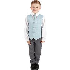 Boys Suits 4 Piece Grey Waistcoat Suit Blue Swirl Pageboy Party Formal Wedding