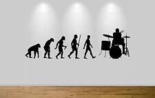 Baterista evolución Arte Pared Adhesivo Calcomanía Dormitorio baterista Ape Para Hombre