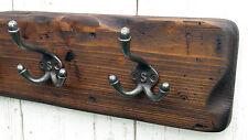 Handmade Reclaimed Wood Cottage Vintage style Coat & Hat Rack with triple hooks