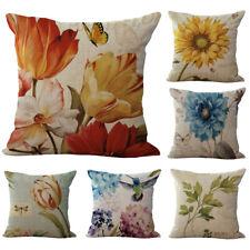 Vintage Sunflower Floral Linen Cotton Throw Pillow Case Home Car Cushion Cover