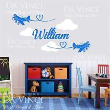 Airplane Aircraft Planes Wall Custom Name Vinyl Wall Decal Sticker Room Nursery