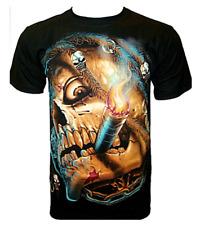 "Glow in The Dark Black T-Shirts For Men ""Smoking Skull"""