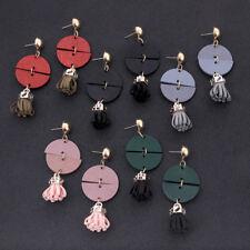 Fashion Women Bohemian Fringe Earring Vintage Long Tassel Wood Dangle Ear Stud
