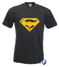Superbat Mens Unisex T-shirt Superman Batman comic logo combined tshirt