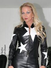 Lederjacke Leder Jacke Schwarz / Weiß Blouson Sterne Größe 32 - 58 XS - XXXL