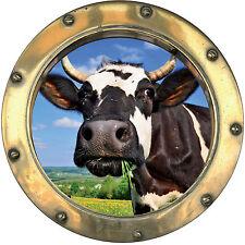 Sticker trompe l'oeil Vache réf:hublot 1408