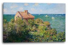 Lein-Wand-Bild Kunstdruck: Claude Monet Fischer-Häuschen in Varengeville
